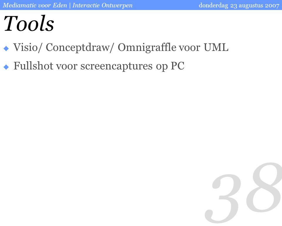 38 donderdag 23 augustus 2007Mediamatic voor Eden | Interactie Ontwerpen Tools  Visio/ Conceptdraw/ Omnigraffle voor UML  Fullshot voor screencaptures op PC