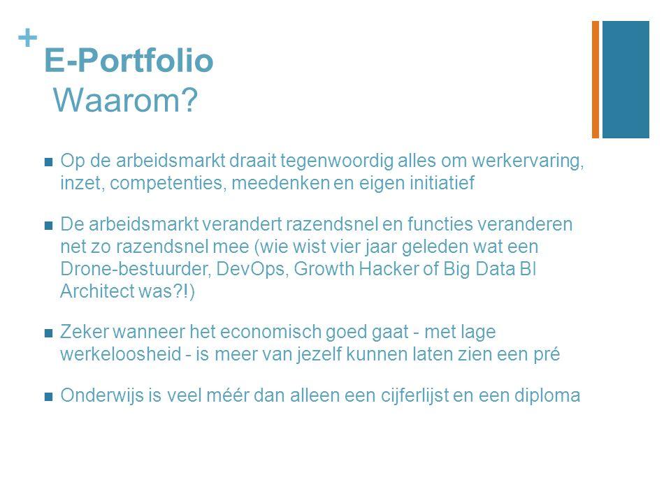 + E-Portfolio Waarom? Op de arbeidsmarkt draait tegenwoordig alles om werkervaring, inzet, competenties, meedenken en eigen initiatief De arbeidsmarkt