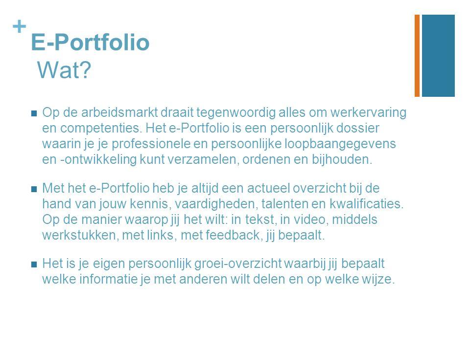 + E-Portfolio Wat? Op de arbeidsmarkt draait tegenwoordig alles om werkervaring en competenties. Het e-Portfolio is een persoonlijk dossier waarin je