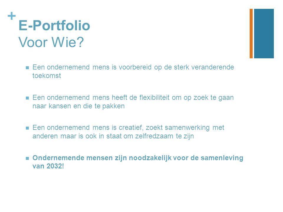 + E-Portfolio Voor Wie? Een ondernemend mens is voorbereid op de sterk veranderende toekomst Een ondernemend mens heeft de flexibiliteit om op zoek te