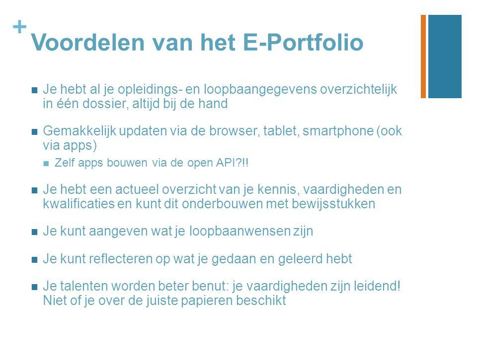 + Voordelen van het E-Portfolio Je hebt al je opleidings- en loopbaangegevens overzichtelijk in één dossier, altijd bij de hand Gemakkelijk updaten vi