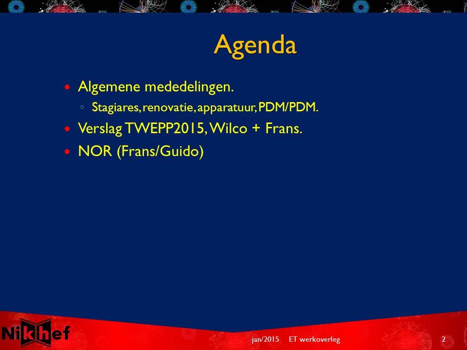 Agenda Algemene mededelingen. ◦ Stagiares, renovatie, apparatuur, PDM/PDM.