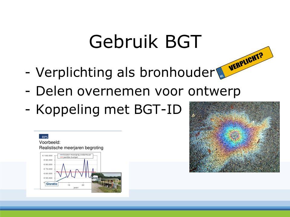Gebruik BGT -Verplichting als bronhouder -Delen overnemen voor ontwerp -Koppeling met BGT-ID