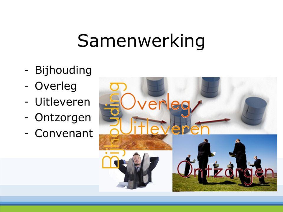 Samenwerking -Bijhouding -Overleg -Uitleveren -Ontzorgen -Convenant