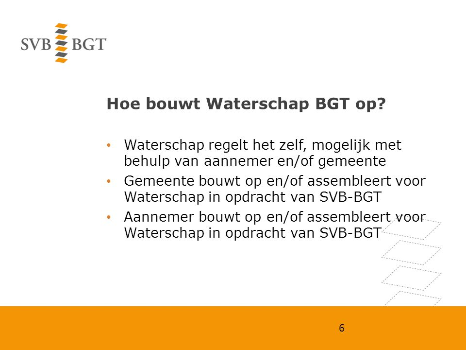 Hoe bouwt Waterschap BGT op? Waterschap regelt het zelf, mogelijk met behulp van aannemer en/of gemeente Gemeente bouwt op en/of assembleert voor Wate