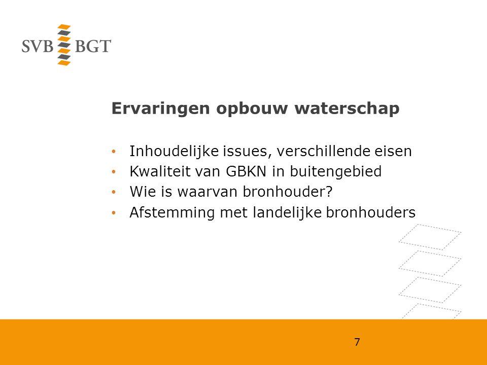 Ervaringen opbouw waterschap Inhoudelijke issues, verschillende eisen Kwaliteit van GBKN in buitengebied Wie is waarvan bronhouder? Afstemming met lan