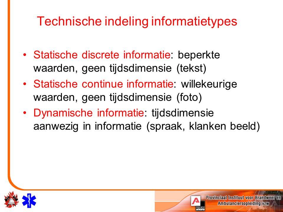 Technische indeling informatietypes Statische discrete informatie: beperkte waarden, geen tijdsdimensie (tekst) Statische continue informatie: willeke