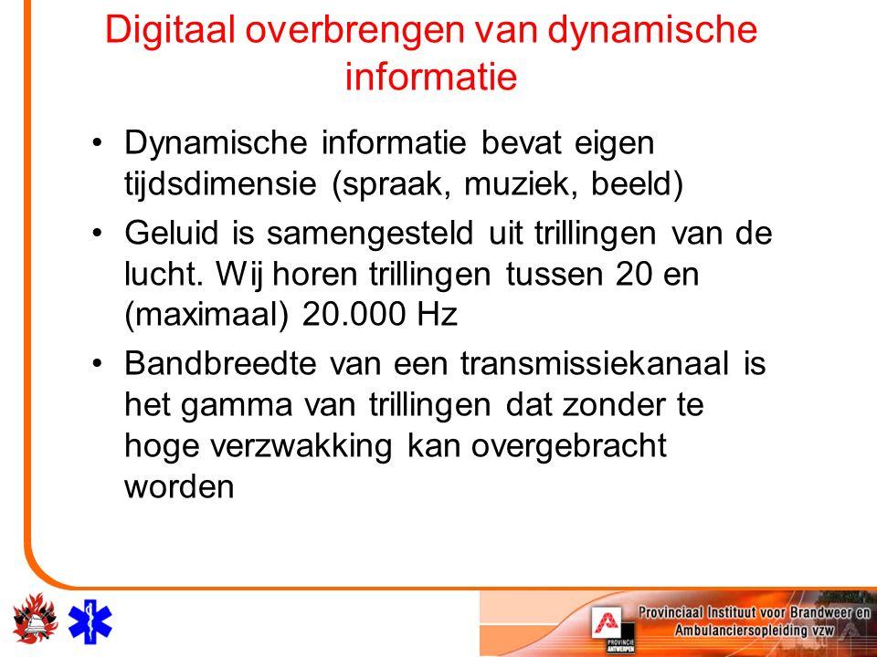 Digitaal overbrengen van dynamische informatie Dynamische informatie bevat eigen tijdsdimensie (spraak, muziek, beeld) Geluid is samengesteld uit tril