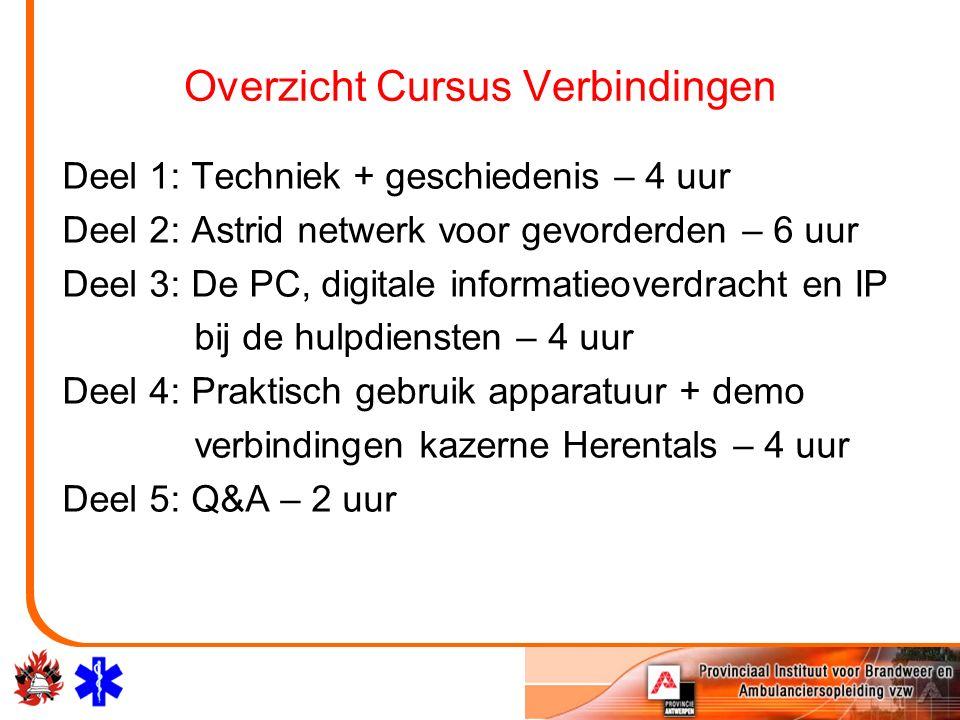 Overzicht Cursus Verbindingen Deel 1: Techniek + geschiedenis – 4 uur Deel 2: Astrid netwerk voor gevorderden – 6 uur Deel 3: De PC, digitale informat