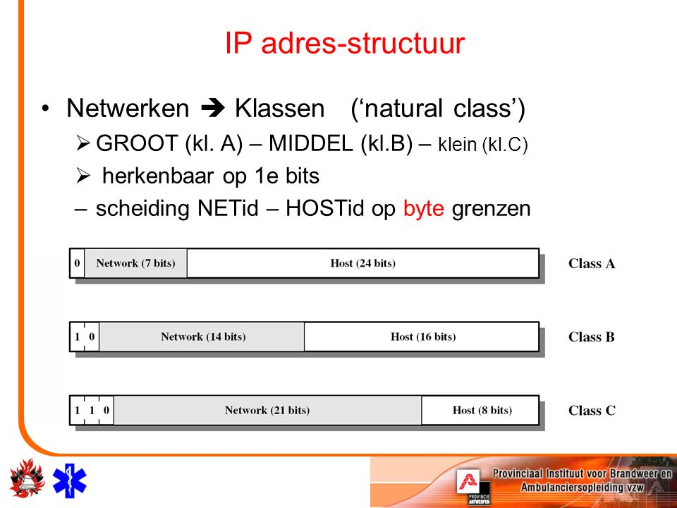 IP adres-structuur Netwerken  Klassen ('natural class')  GROOT (kl. A) – MIDDEL (kl.B) – klein (kl.C)  herkenbaar op 1e bits –scheiding NETid – HOS