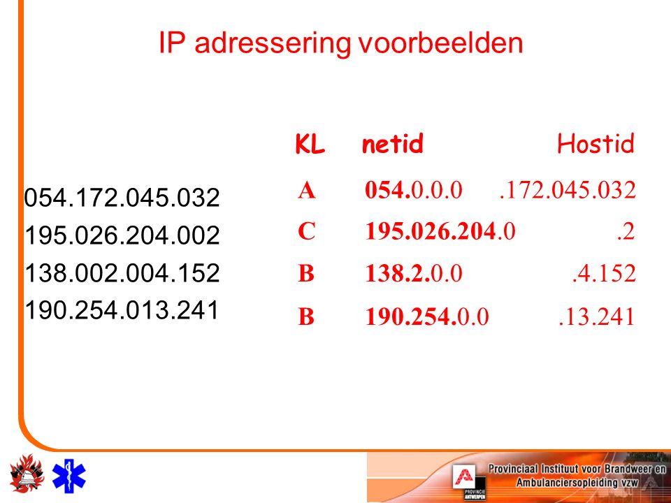 IP adressering voorbeelden 054.172.045.032 195.026.204.002 138.002.004.152 190.254.013.241 A054.0.0.0.172.045.032 C195.026.204.0.2 B138.2.0.0.4.152 B190.254.0.0.13.241 KL netidHostid
