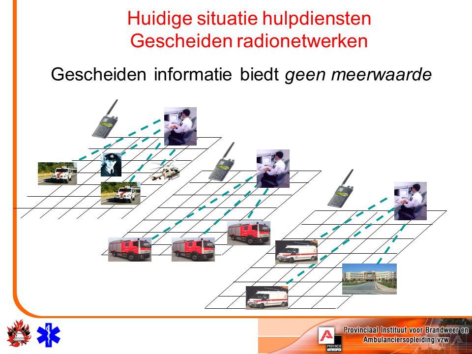 Huidige situatie hulpdiensten Gescheiden radionetwerken Gescheiden informatie biedt geen meerwaarde