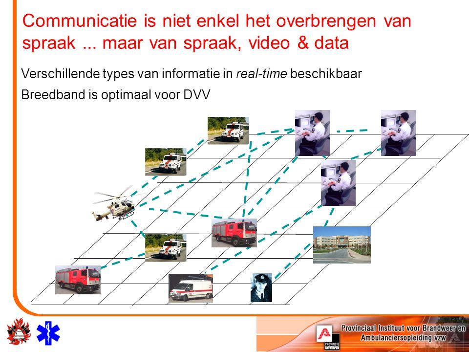 Verschillende types van informatie in real-time beschikbaar Breedband is optimaal voor DVV Communicatie is niet enkel het overbrengen van spraak... ma