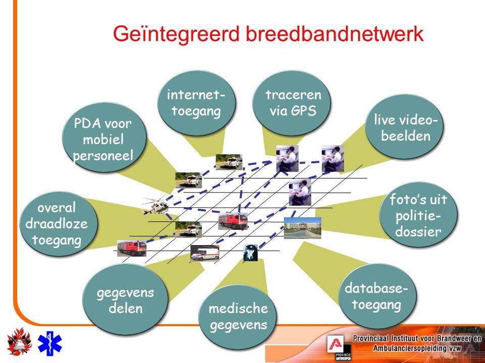 PDA voor mobiel personeel internet- toegang traceren via GPS live video- beelden foto's uit politie- dossier database- toegang medische gegevens gegevens delen overal draadloze toegang Geïntegreerd breedbandnetwerk