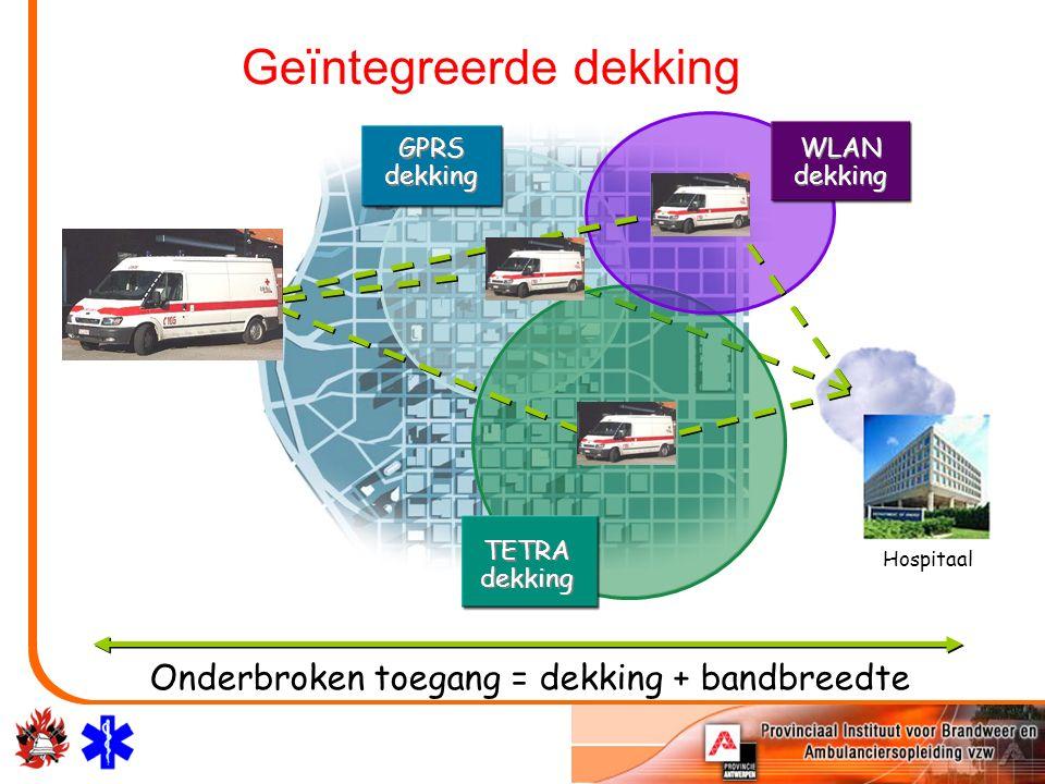 Onderbroken toegang = dekking + bandbreedte GPRS dekking WLAN dekking TETRA dekking Hospitaal Geïntegreerde dekking