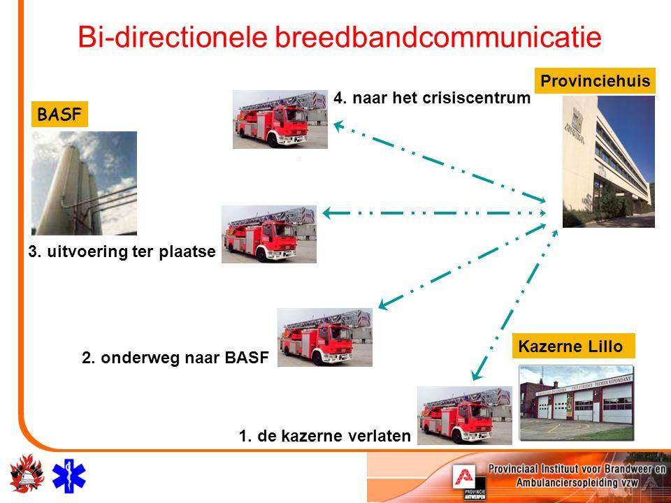 BASF Kazerne Lillo Bi-directionele breedbandcommunicatie 2. onderweg naar BASF 1. de kazerne verlaten Provinciehuis 4. naar het crisiscentrum 3. uitvo