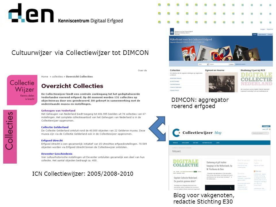 Cultuurwijzer via Collectiewijzer tot DIMCON Blog voor vakgenoten, redactie Stichting E30 DIMCON: aggregator roerend erfgoed ICN Collectiewijzer: 2005/2008-2010