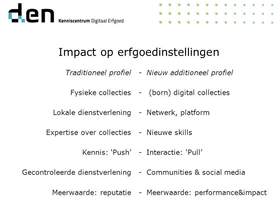 Traditioneel profiel Fysieke collecties Lokale dienstverlening Expertise over collecties Kennis: 'Push' Gecontroleerde dienstverlening Meerwaarde: reputatie Nieuw additioneel profiel (born) digital collecties Netwerk, platform Nieuwe skills Interactie: 'Pull' Communities & social media Meerwaarde: performance&impact -------------- Impact op erfgoedinstellingen