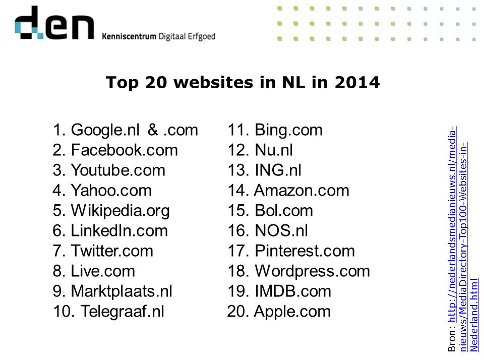 Top 20 websites in NL in 2014 Bron: http://nederlandsmedianieuws.nl/media- nieuws/MediaDirectory-Top100-Websites-in- Nederland.htmlhttp://nederlandsme