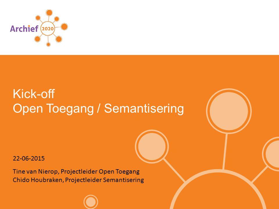 Opzet project Het project bestaat uit drie delen: Verkenning archiefontologie en linked data Best practices geografische (archief)data Pilot Proof of Concept semantic tagging Resultaten zijn gepland voor december 2015