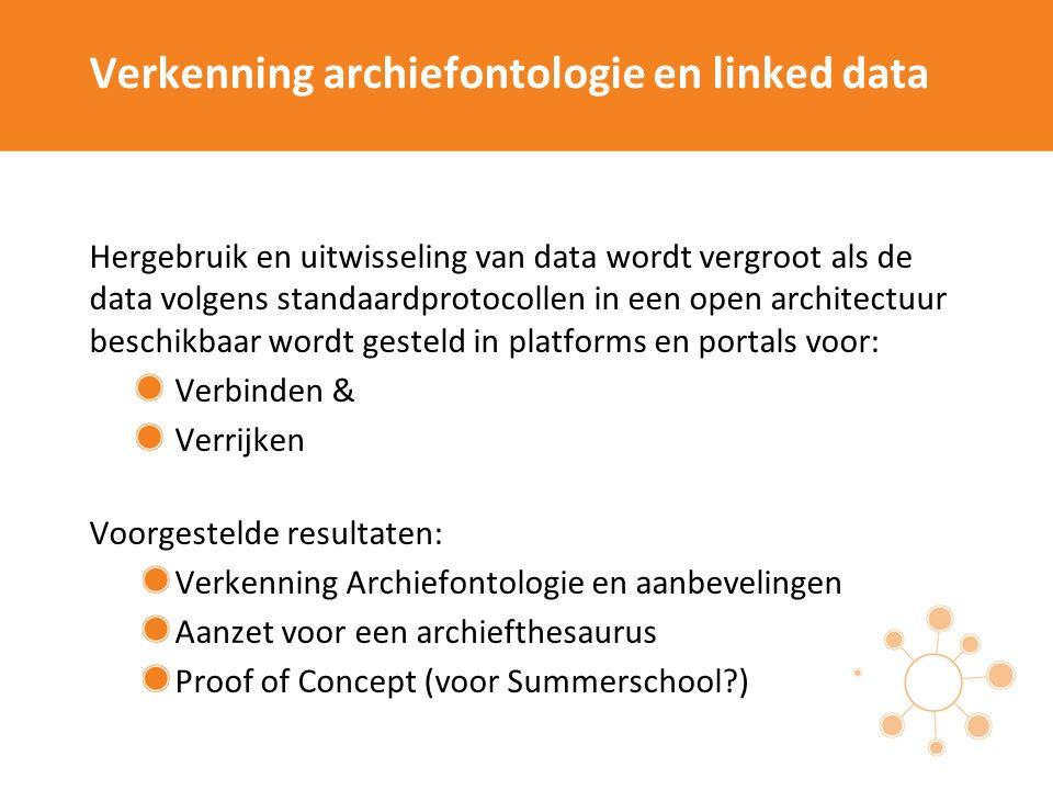 Best practices geografische (archief)data Stimuleren en etaleren van best practices in ontsluiting van archieven met geografische (archief)data voor een betere doorzoekbaarheid in samenhang met cultureel erfgoed.