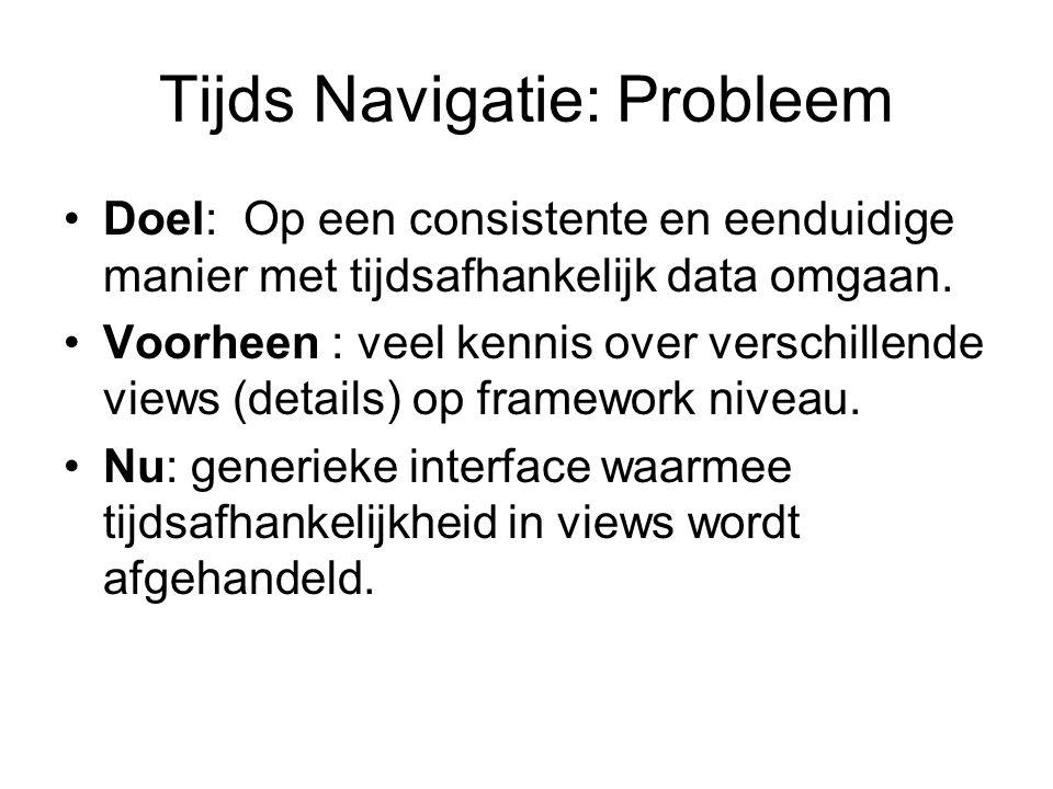 Tijds Navigatie: Probleem Doel: Op een consistente en eenduidige manier met tijdsafhankelijk data omgaan.