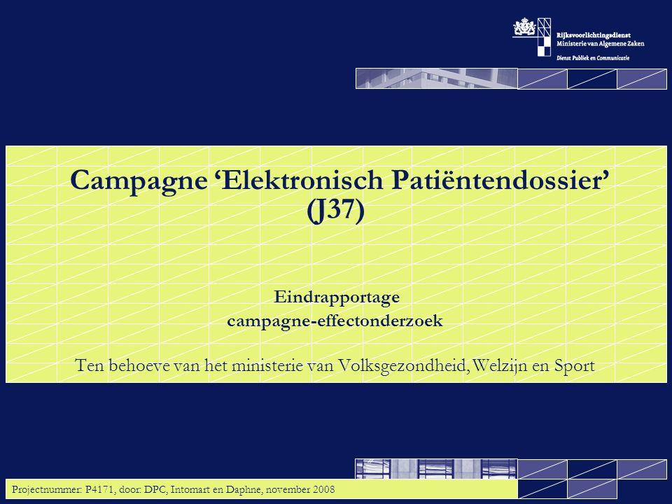 Tussenmeting campagne EPD (J37), door DPC, Intomart en Daphne, november 2008 12 2.1 Kennis: Driekwart van het algemeen publiek weet dat er binnenkort wordt gestart met de invoering van het landelijk EPD; de doelstelling is behaald Gevraagd is of men ermee bekend is dat er wordt gestart met de invoering van het landelijk Elektronisch Patiëntendossier (EPD).