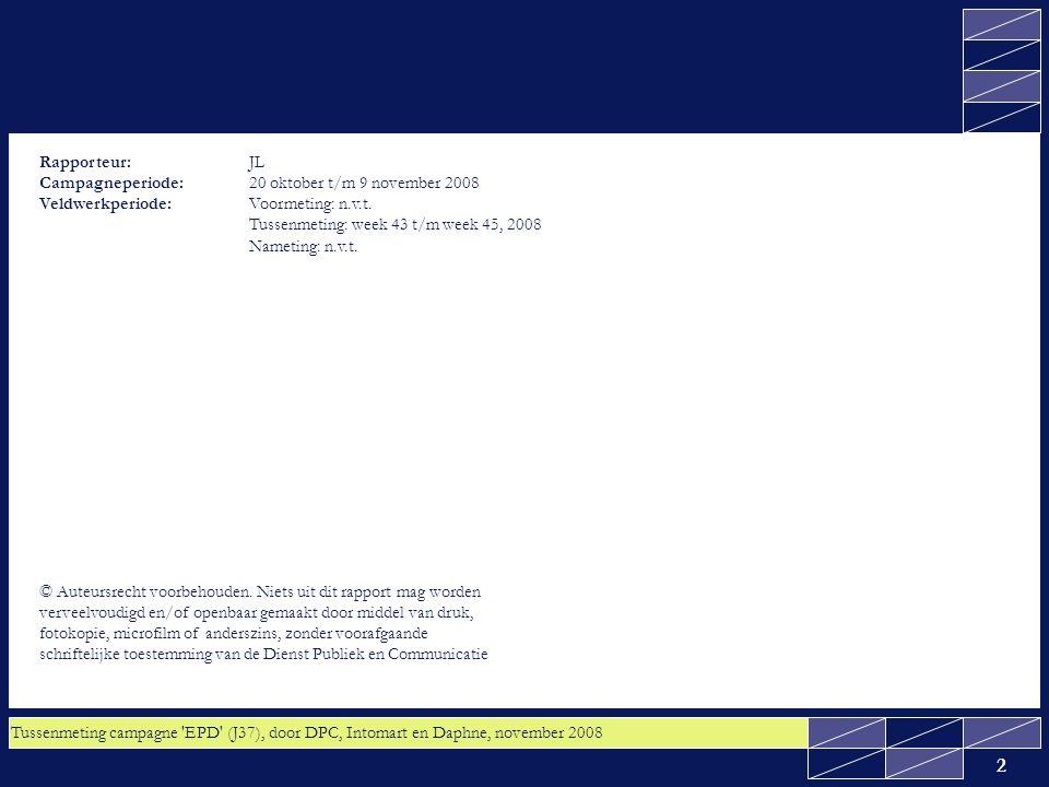 Tussenmeting campagne EPD (J37), door DPC, Intomart en Daphne, november 2008 13 2.1 Kennis: Zeven op de tien van het algemeen publiek weet dat zij het recht hebben om bezwaar te maken tegen uitwisseling van hun medische gegevens via het EPD; de doelstelling is behaald Gevraagd is of de volgende stelling waar of niet waar is: 'U heeft het recht om bezwaar te maken tegen uitwisseling van uw medische gegevens via het EPD'.
