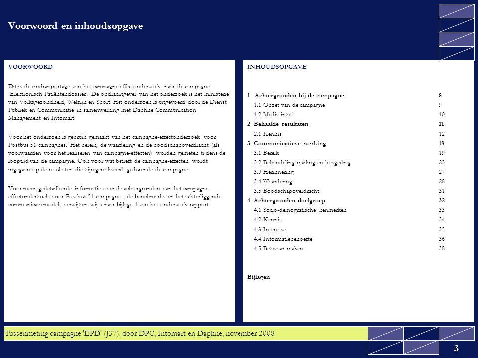 Tussenmeting campagne EPD (J37), door DPC, Intomart en Daphne, november 2008 4 Inleiding In deze management summary worden de resultaten van het campagne- effectonderzoek naar de publiekscampagne 'Elektronisch Patiëntendossier' samengevat.