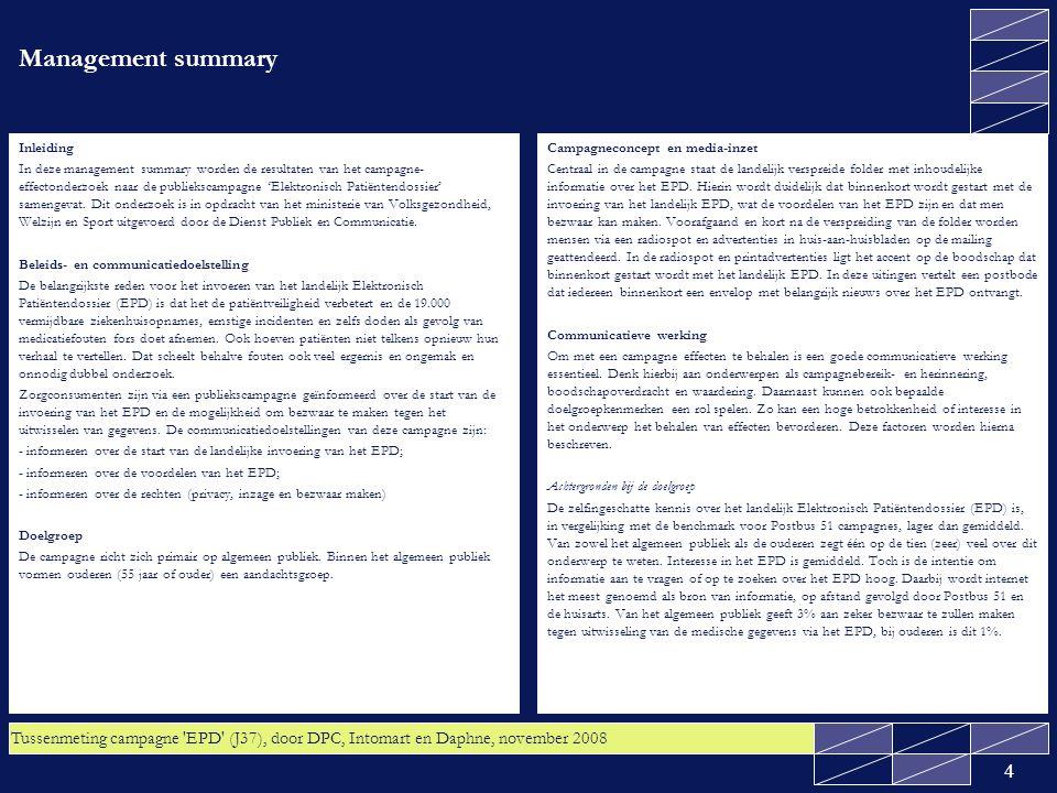 Tussenmeting campagne EPD (J37), door DPC, Intomart en Daphne, november 2008 15 2.1 Kennis: Zes op de tien van zowel het algemeen publiek als de ouderen is het eens dat het landelijk EPD alle vier de voordelen voor de patiënt oplevert Er zijn vier voordelen van het landelijk EPD voor de patiënt voorgelegd (zie vorige sheet).