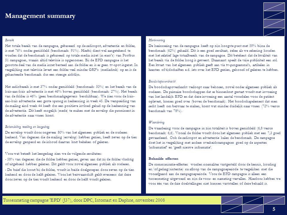 Tussenmeting campagne EPD (J37), door DPC, Intomart en Daphne, november 2008 6 Kenniseffecten Alle doelstellingen van de campagne 'Elektronisch Patiëntendossier' waren kennisdoelstellingen, namelijk: - 60% van het algemeen publiek is ermee bekend dat het landelijk EPD wordt ingevoerd; - 40% van het algemeen publiek weet dat men het recht heeft om bezwaar te maken tegen uitwisseling van medische gegevens via het EPD; - Het realiseren van een stijging in het percentage van het algemeen publiek dat onderschrijft dat het EPD een aantal voordelen voor de patiënt biedt De eerste twee doelstellingen zijn behaald.