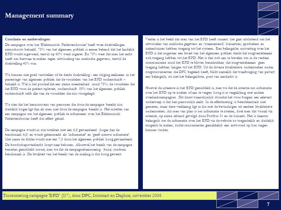 Tussenmeting campagne EPD (J37), door DPC, Intomart en Daphne, november 2008 38 4.5 Bijna acht op de tien van zowel het algemeen publiek als de ouderen gaat waarschijnlijk of zeker geen bezwaar maken tegen uitwisseling van hun medische gegevens via het landelijk Elektronisch Patiëntendossier Gevraagd is of men bezwaar gaat maken tegen uitwisseling van de medische gegevens via het landelijk Elektronisch Patiëntendossier.