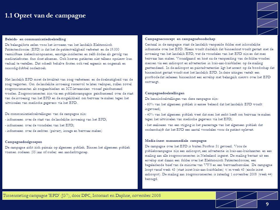 Tussenmeting campagne EPD (J37), door DPC, Intomart en Daphne, november 2008 20 3.1 Radiobereik lager dan gemiddeld Het radiobereik geeft aan hoeveel mensen in een bepaalde week de radiospot hebben gehoord.