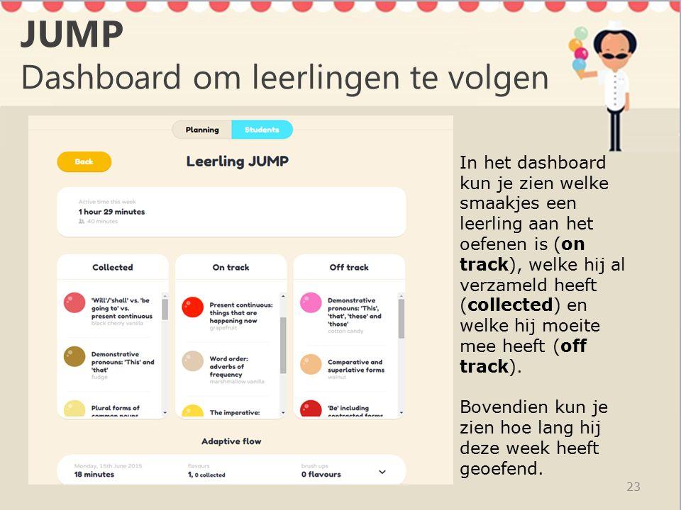 JUMP Dashboard om leerlingen te volgen 23 In het dashboard kun je zien welke smaakjes een leerling aan het oefenen is (on track), welke hij al verzameld heeft (collected) en welke hij moeite mee heeft (off track).