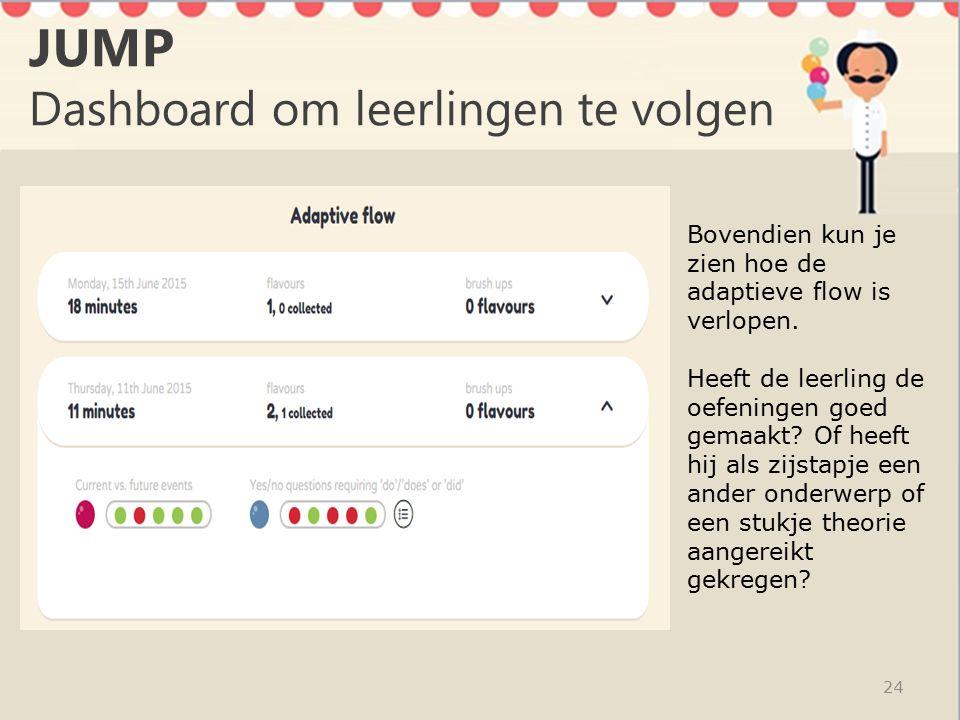 JUMP Dashboard om leerlingen te volgen 24 Bovendien kun je zien hoe de adaptieve flow is verlopen.