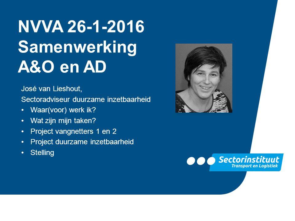 NVVA 26-1-2016 Samenwerking A&O en AD José van Lieshout, Sectoradviseur duurzame inzetbaarheid Waar(voor) werk ik? Wat zijn mijn taken? Project vangne