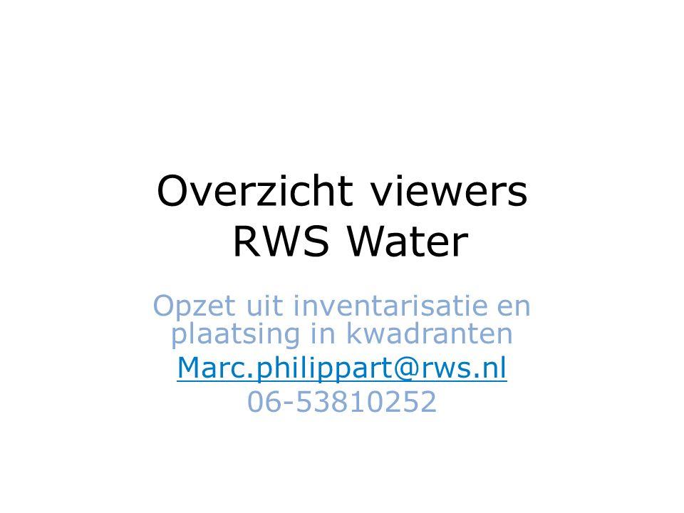Overzicht viewers RWS Water Opzet uit inventarisatie en plaatsing in kwadranten Marc.philippart@rws.nl 06-53810252