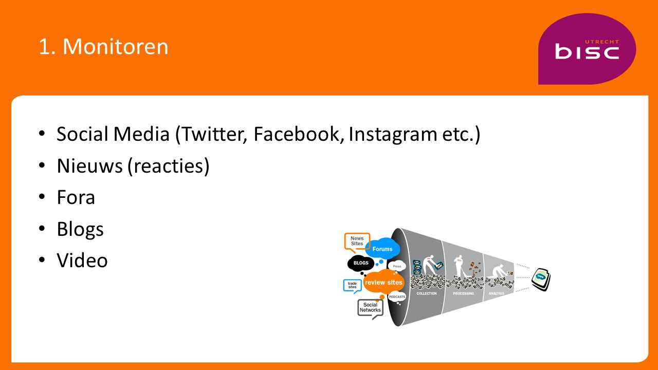 1. Monitoren Social Media (Twitter, Facebook, Instagram etc.) Nieuws (reacties) Fora Blogs Video