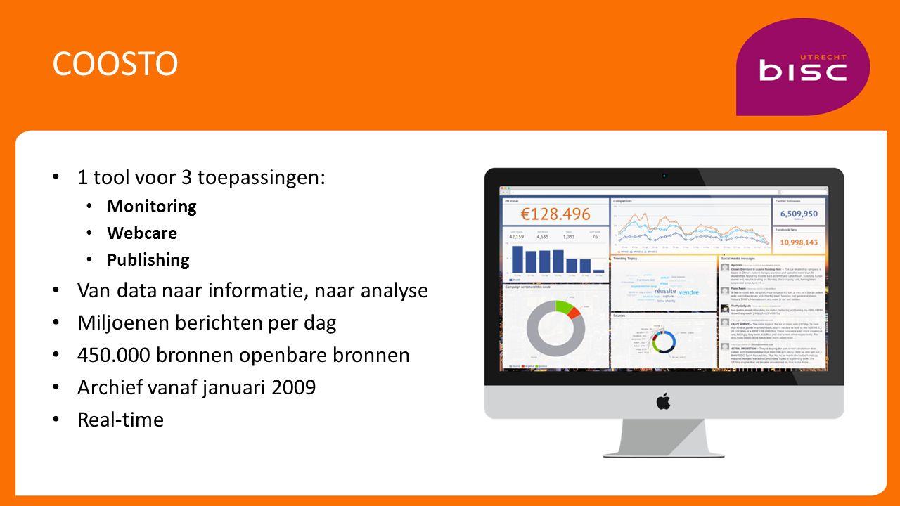 COOSTO 1 tool voor 3 toepassingen: Monitoring Webcare Publishing Van data naar informatie, naar analyse Miljoenen berichten per dag 450.000 bronnen openbare bronnen Archief vanaf januari 2009 Real-time