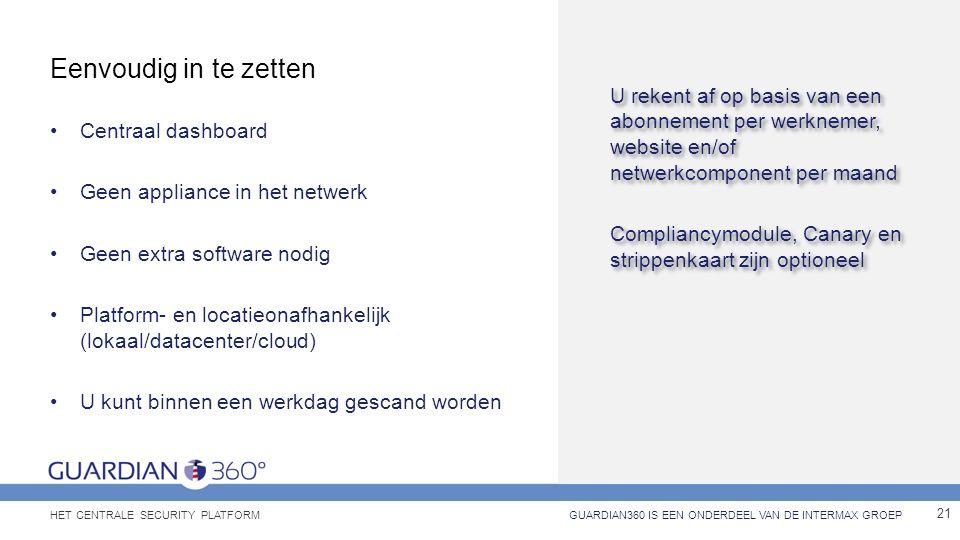 Eenvoudig in te zetten Centraal dashboard Geen appliance in het netwerk Geen extra software nodig Platform- en locatieonafhankelijk (lokaal/datacenter