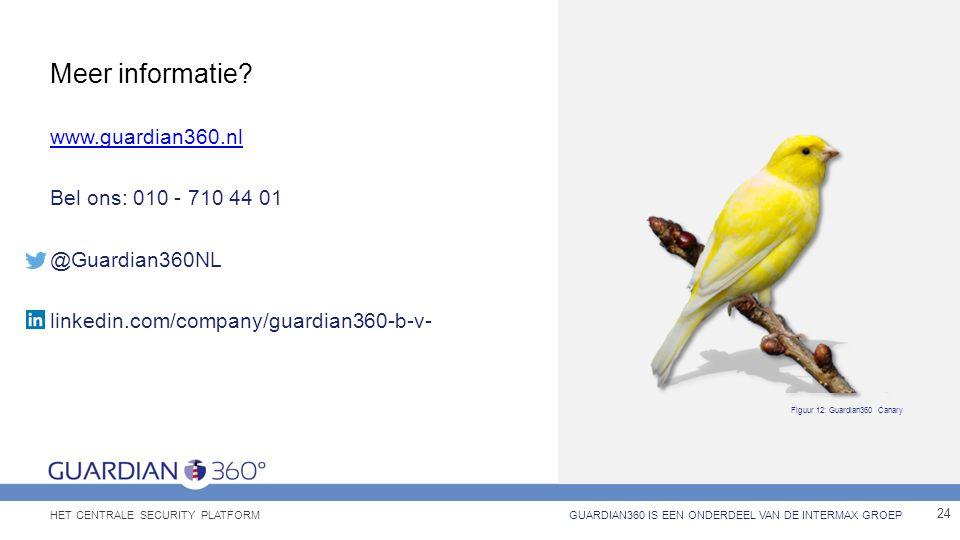Meer informatie? www.guardian360.nl Bel ons: 010 - 710 44 01 @Guardian360NL linkedin.com/company/guardian360-b-v- 24 GUARDIAN360 IS EEN ONDERDEEL VAN