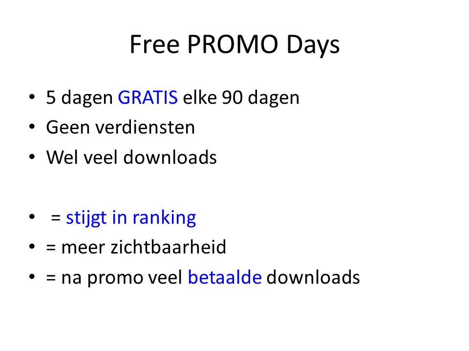 Free PROMO Days 5 dagen GRATIS elke 90 dagen Geen verdiensten Wel veel downloads = stijgt in ranking = meer zichtbaarheid = na promo veel betaalde downloads
