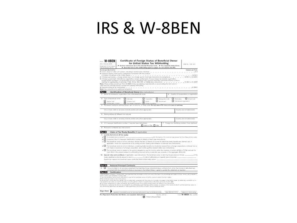IRS & W-8BEN
