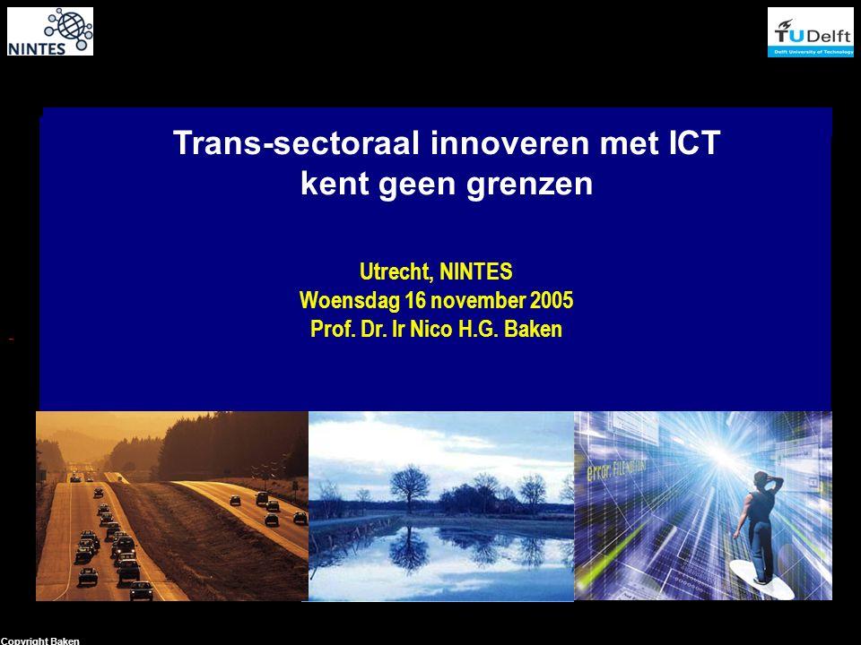 1 Copyright Baken Trans-sectoraal innoveren met ICT kent geen grenzen Utrecht, NINTES Woensdag 16 november 2005 Prof.