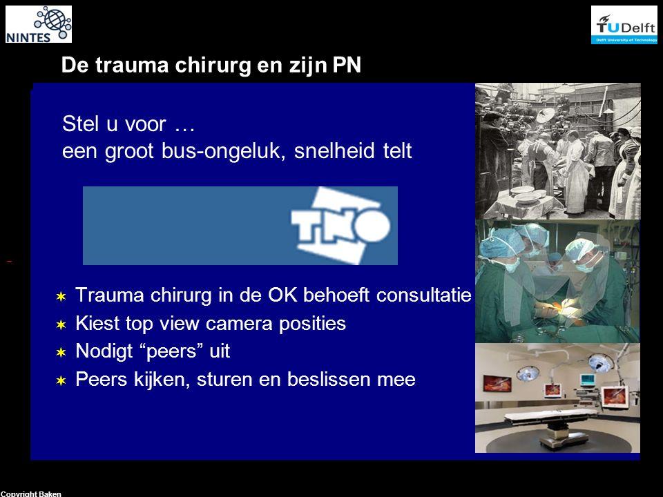 16 Copyright Baken De trauma chirurg en zijn PN  Trauma chirurg in de OK behoeft consultatie  Kiest top view camera posities  Nodigt peers uit  Peers kijken, sturen en beslissen mee Stel u voor … een groot bus-ongeluk, snelheid telt