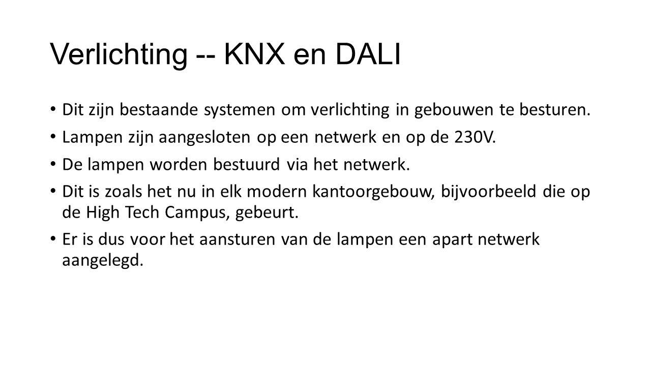 Verlichting -- KNX en DALI Dit zijn bestaande systemen om verlichting in gebouwen te besturen.