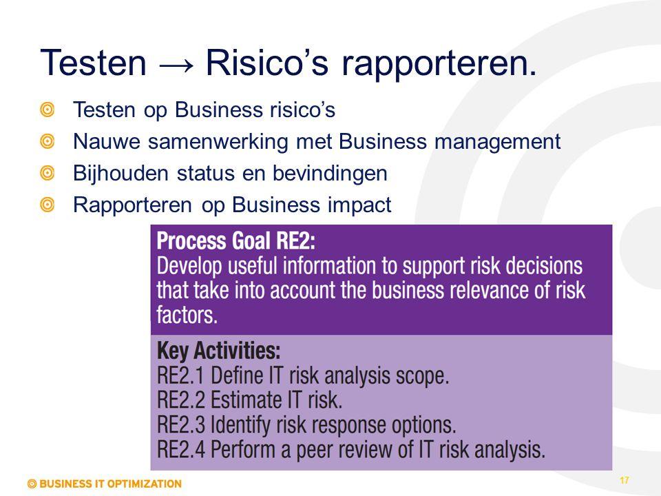 Testen → Risico's rapporteren. 17 Testen op Business risico's Nauwe samenwerking met Business management Bijhouden status en bevindingen Rapporteren o