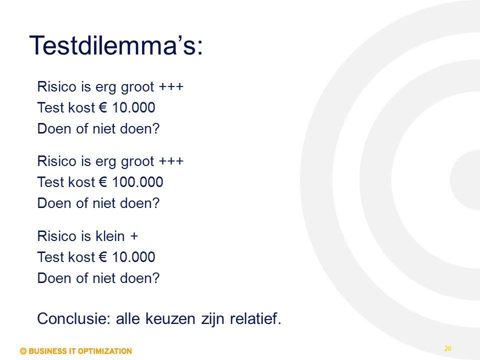 Testdilemma's: 20 Risico is erg groot +++ Test kost € 10.000 Doen of niet doen? Risico is erg groot +++ Test kost € 100.000 Doen of niet doen? Risico