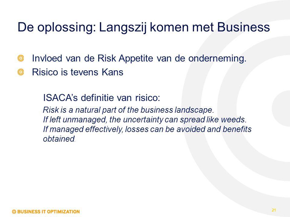 De oplossing: Langszij komen met Business Invloed van de Risk Appetite van de onderneming. Risico is tevens Kans ISACA's definitie van risico: Risk is