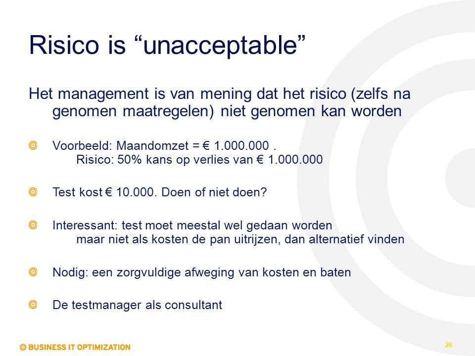 Risico is unacceptable Het management is van mening dat het risico (zelfs na genomen maatregelen) niet genomen kan worden Voorbeeld: Maandomzet = € 1.000.000.